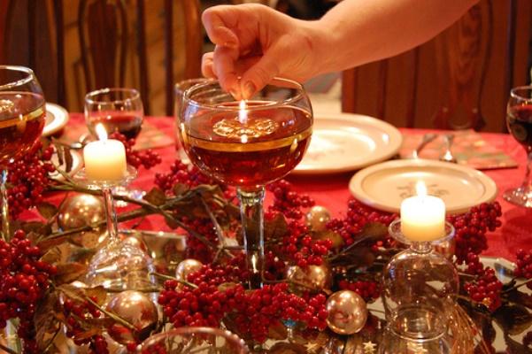 mesa de natal velas